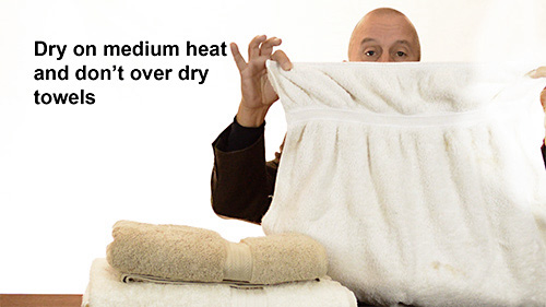 Use a low or medium heat setting when drying towels