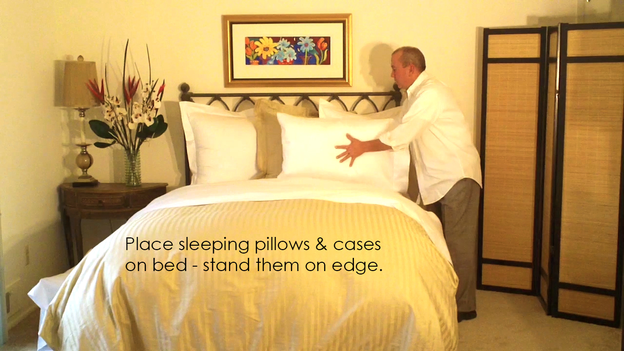 Now place your sleeping pillows and decorative pillows