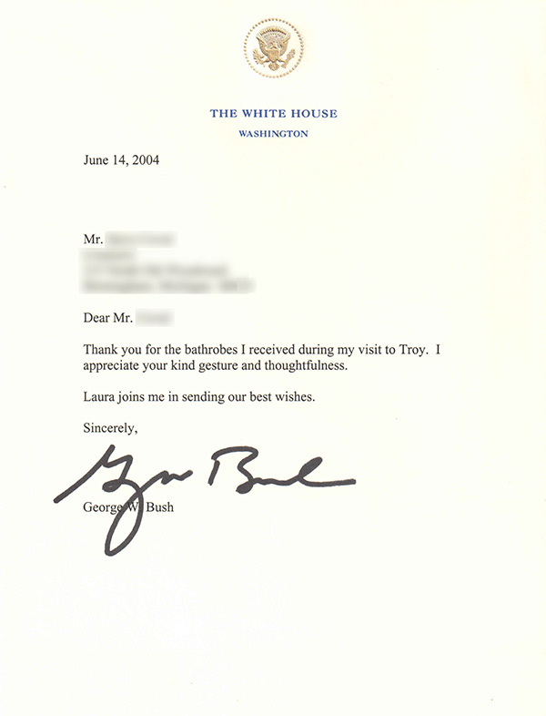 President George W Bush's thank you letter