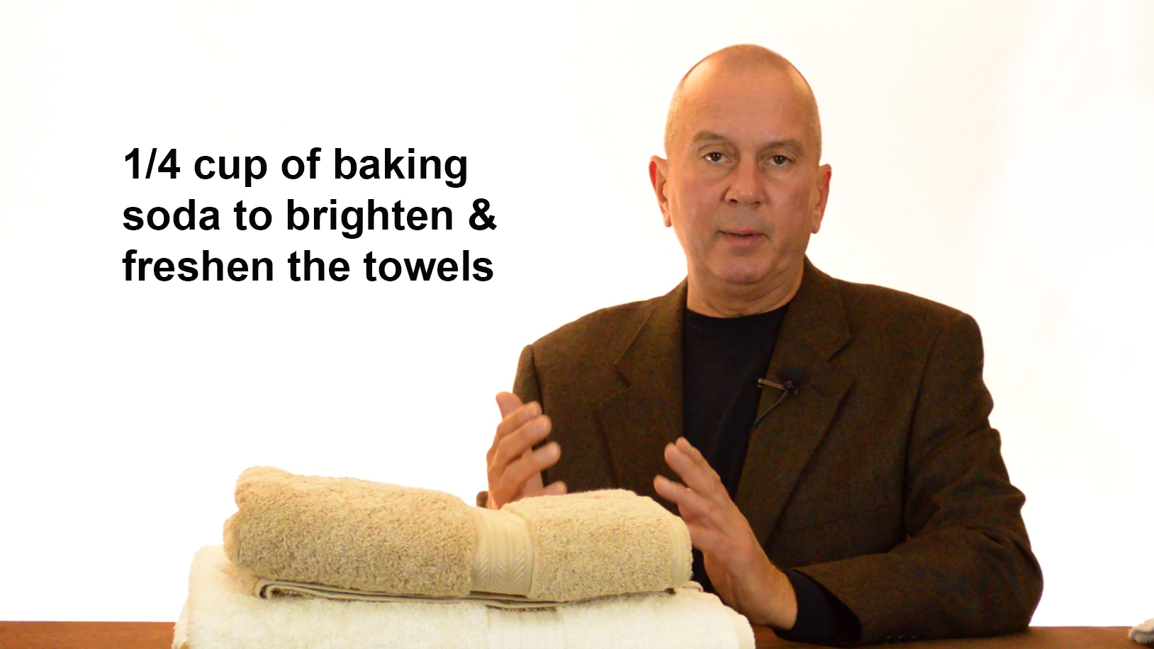 Use a quarter cup of baking soda to brighten towels