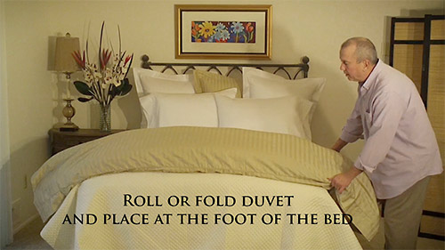 Roll or fold the duvet cover into thirds