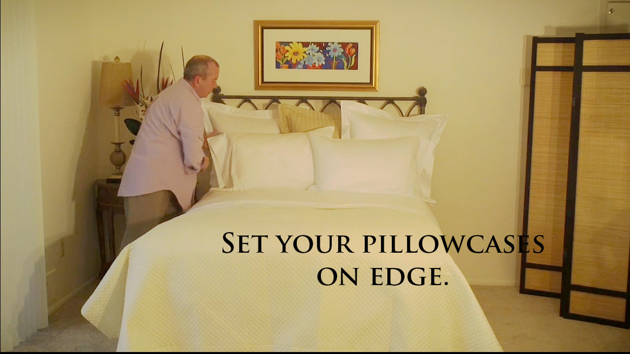 Properly placing pillowcases on your bed