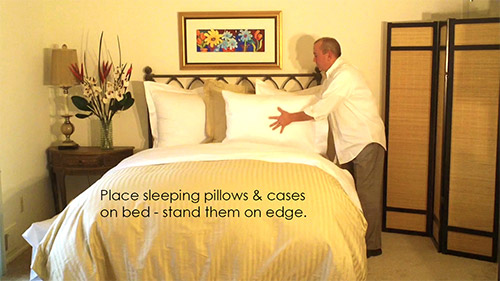 When making your bed place the sleeping pillow on edge