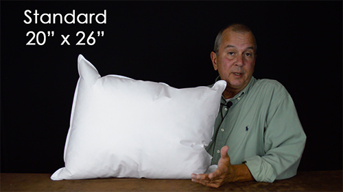 Standard size sleeping pillows are the most popular size