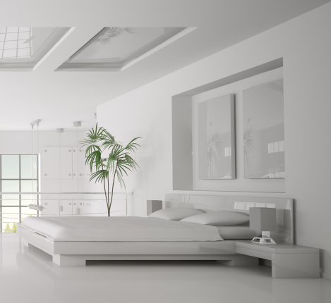 Modern all white bedroom and luxury bedding